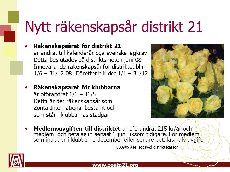 www.zonta21.org Nytt räkenskapsår distrikt 21 Räkenskapsåret för distrikt 21 är ändrat till kalenderår pga svenska lagkrav. Detta beslutades på distri