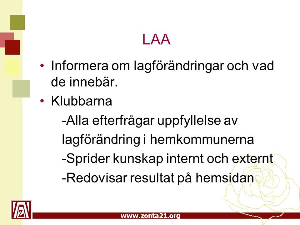 www.zonta21.org LAA Informera om lagförändringar och vad de innebär. Klubbarna -Alla efterfrågar uppfyllelse av lagförändring i hemkommunerna -Sprider