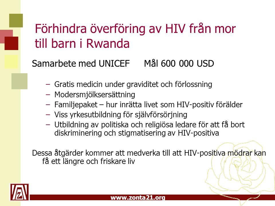 www.zonta21.org Förhindra överföring av HIV från mor till barn i Rwanda Samarbete med UNICEF Mål 600 000 USD –Gratis medicin under graviditet och förl