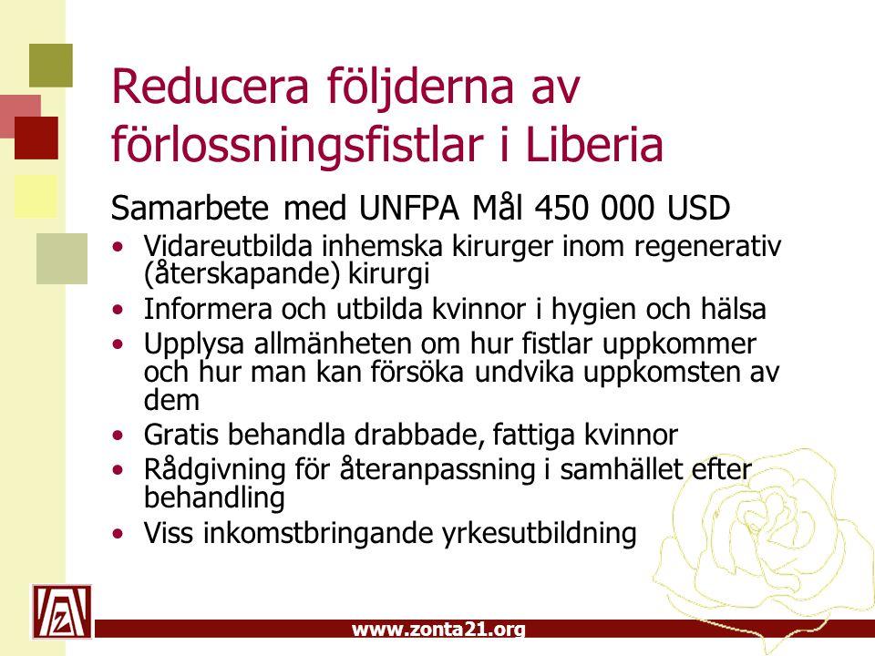 www.zonta21.org Reducera följderna av förlossningsfistlar i Liberia Samarbete med UNFPA Mål 450 000 USD Vidareutbilda inhemska kirurger inom regenerat
