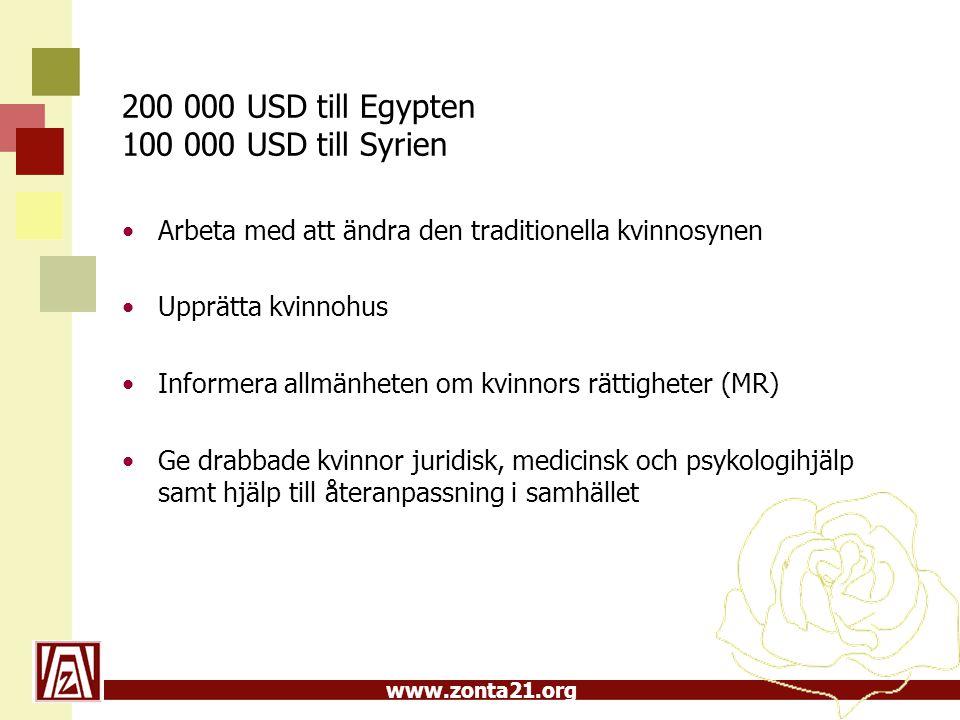 www.zonta21.org 200 000 USD till Egypten 100 000 USD till Syrien Arbeta med att ändra den traditionella kvinnosynen Upprätta kvinnohus Informera allmä