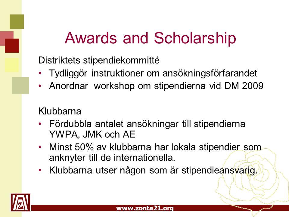 www.zonta21.org Awards and Scholarship Distriktets stipendiekommitté Tydliggör instruktioner om ansökningsförfarandet Anordnar workshop om stipendiern
