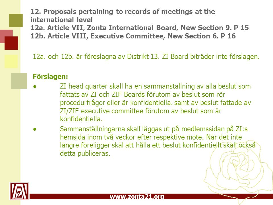 www.zonta21.org 12. Proposals pertaining to records of meetings at the international level 12a. Article VII, Zonta International Board, New Section 9.