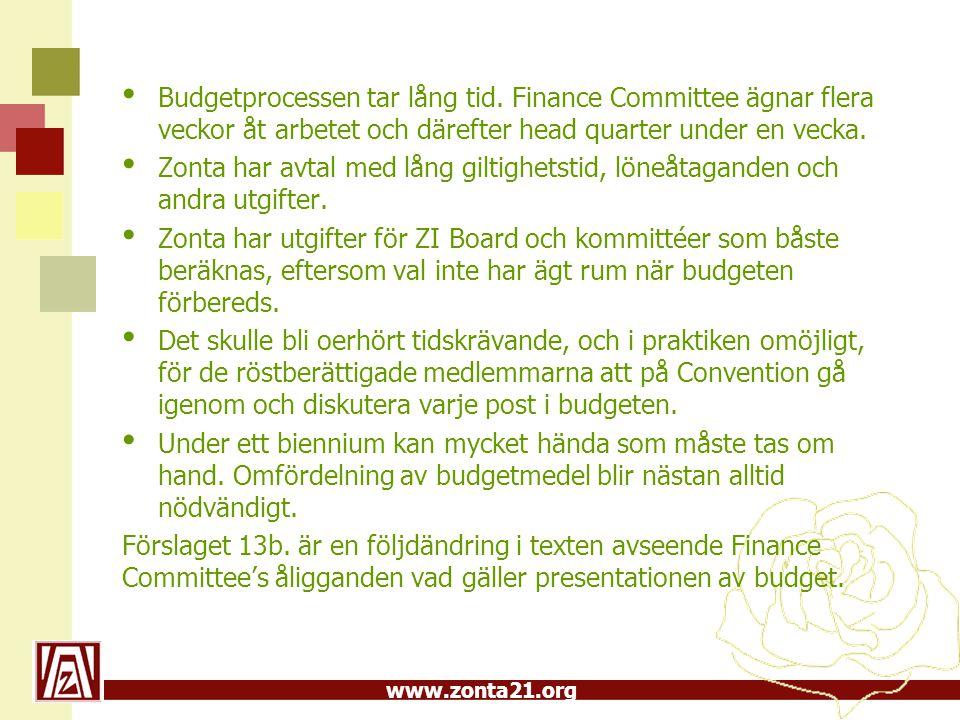 www.zonta21.org Budgetprocessen tar lång tid.