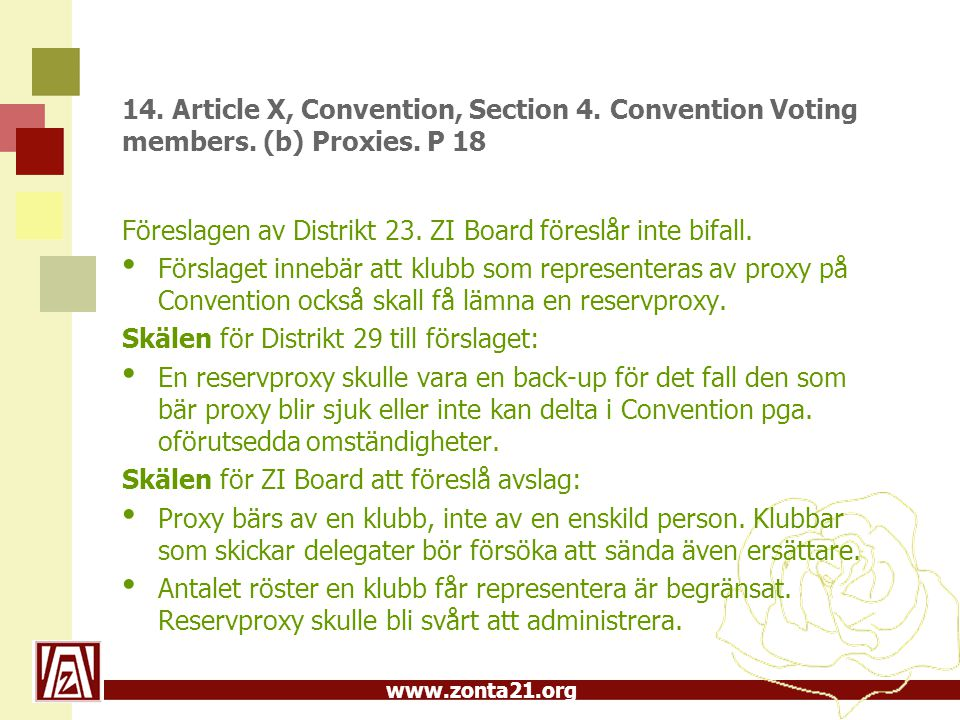 www.zonta21.org 14. Article X, Convention, Section 4. Convention Voting members. (b) Proxies. P 18 Föreslagen av Distrikt 23. ZI Board föreslår inte b