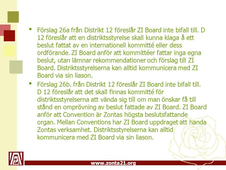 www.zonta21.org Förslag 26a från Distrikt 12 föreslår ZI Board inte bifall till.