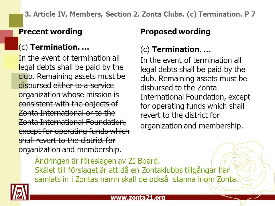 www.zonta21.org 3. Article IV, Members, Section 2. Zonta Clubs. (c) Termination. P 7 Precent wording (c) Termination. … In the event of termination al