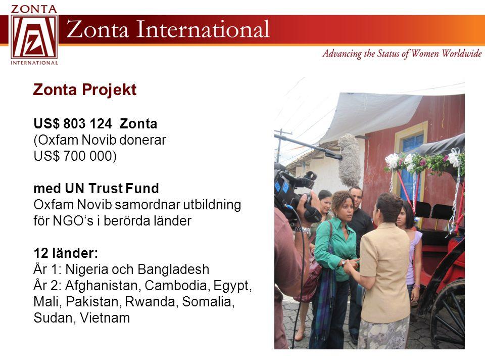 Zonta Projekt US$ 803 124 Zonta (Oxfam Novib donerar US$ 700 000) med UN Trust Fund Oxfam Novib samordnar utbildning för NGO's i berörda länder 12 länder: År 1: Nigeria och Bangladesh År 2: Afghanistan, Cambodia, Egypt, Mali, Pakistan, Rwanda, Somalia, Sudan, Vietnam
