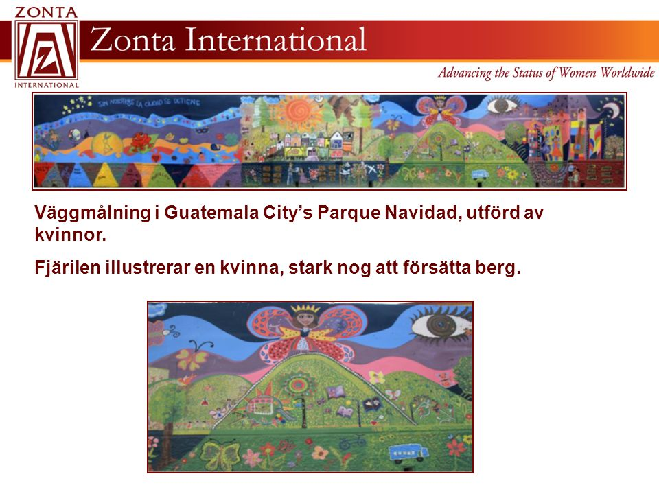 Väggmålning i Guatemala City's Parque Navidad, utförd av kvinnor.