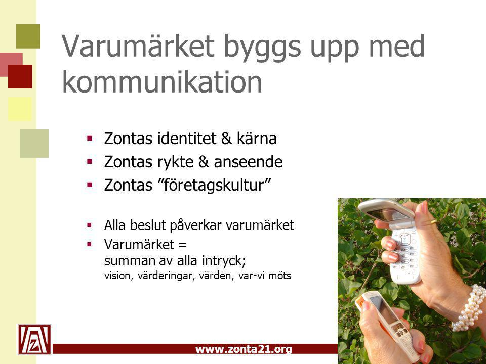 www.zonta21.org Branding; Bilden av Zonta Att bygga & vårda varumärket Zonta  Hur uppfattas Zonta.