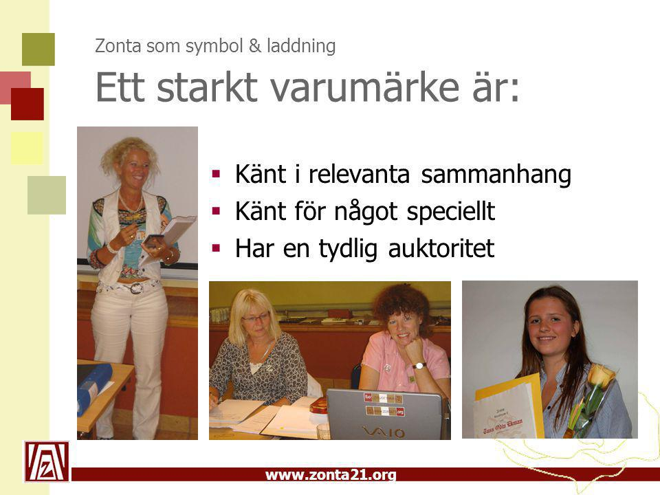 www.zonta21.org Zonta som symbol & laddning Ett starkt varumärke är:  Känt i relevanta sammanhang  Känt för något speciellt  Har en tydlig auktoritet