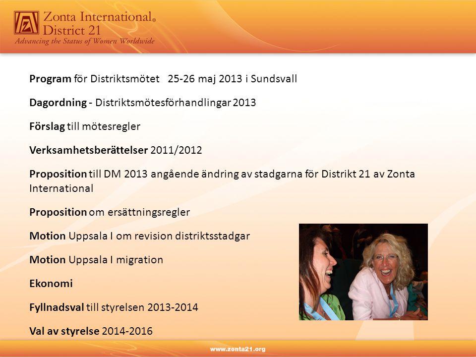 Program för Distriktsmötet 25-26 maj 2013 i Sundsvall Dagordning - Distriktsmötesförhandlingar 2013 Förslag till mötesregler Verksamhetsberättelser 20