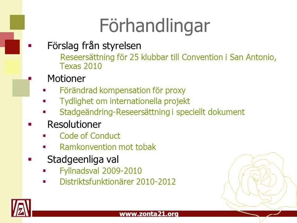 www.zonta21.org Fyllnadsval 2009-2010  Vice guvernör Anna Hedin, Helsingborg  Vice AD, area 04 Kristina Alexis, Kristianstad