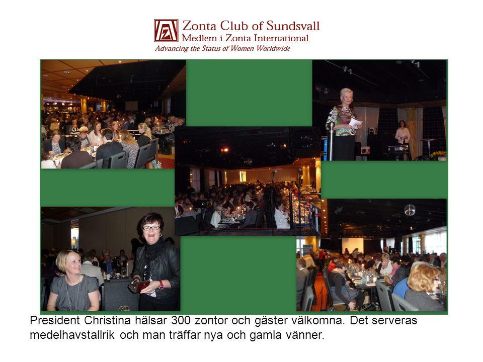 President Christina hälsar 300 zontor och gäster välkomna. Det serveras medelhavstallrik och man träffar nya och gamla vänner.