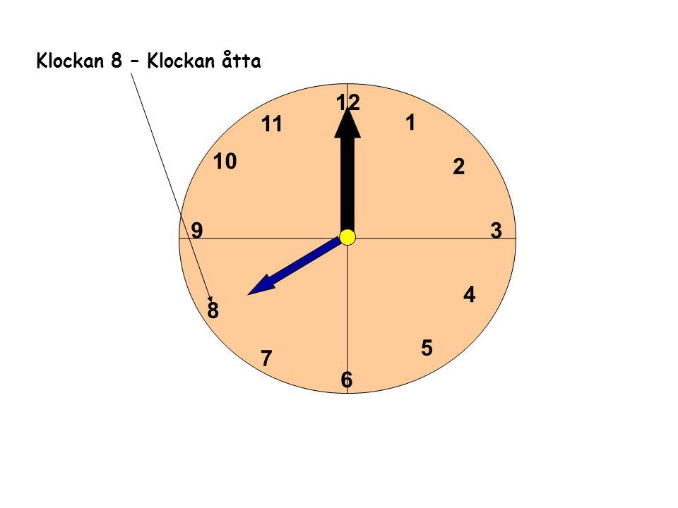 1 2 3 4 5 6 11 10 9 8 7 12 Klockan 8 – Klockan åtta