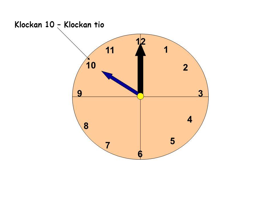 1 2 3 4 5 6 11 10 9 8 7 12 Klockan 10 – Klockan tio