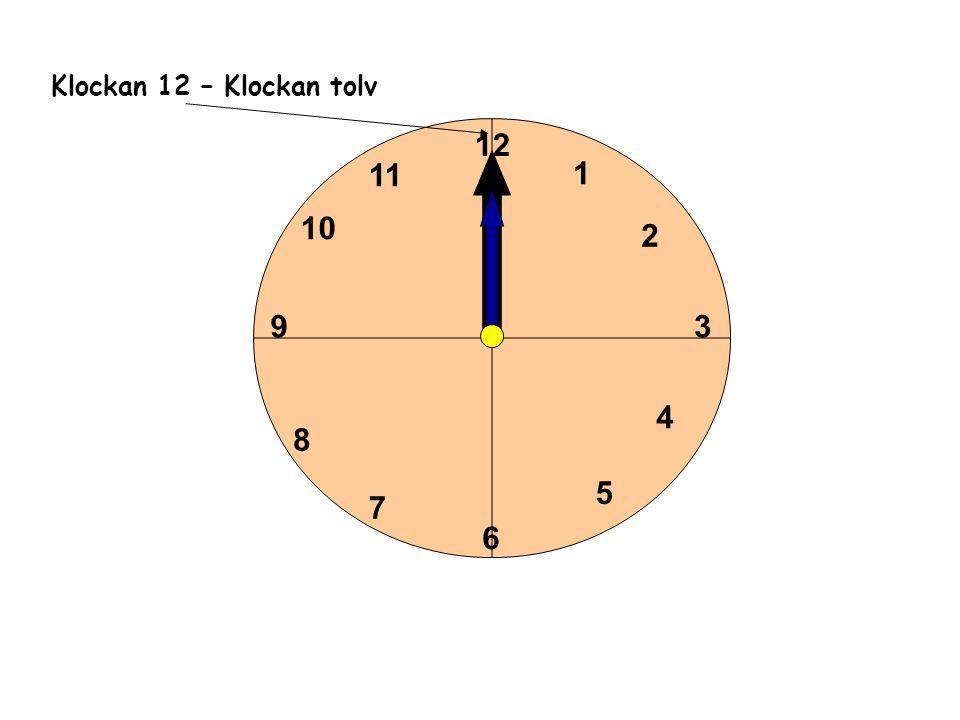 1 2 3 4 5 6 11 10 9 8 7 12 Klockan 12 – Klockan tolv