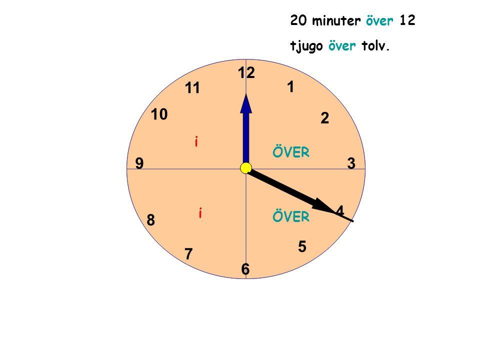 1 2 3 4 5 6 11 10 9 8 7 12 1 2 3 4 5 6 11 10 9 8 7 12 20 minuter över 12 tjugo över tolv. ÖVER i i