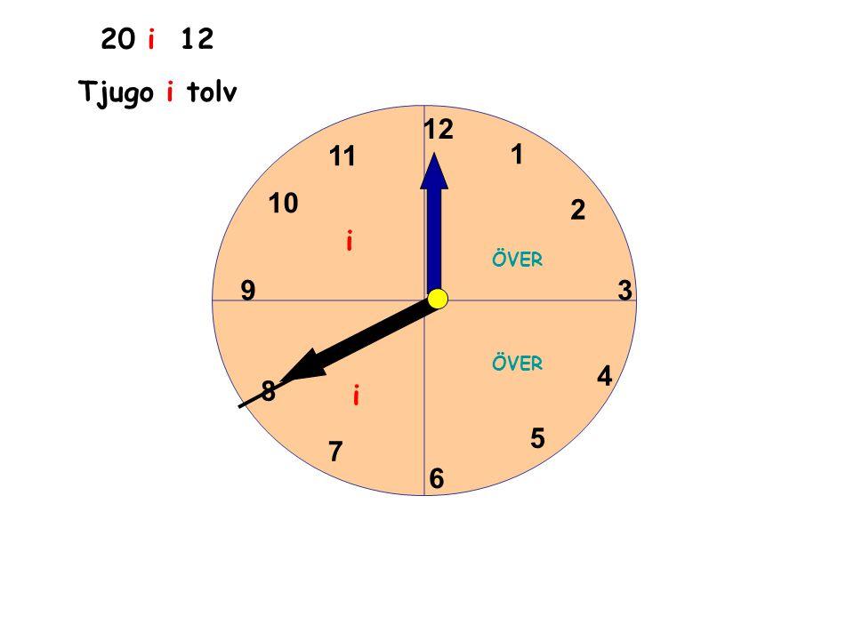 1 2 3 4 5 6 11 10 9 8 7 12 20 i 12 Tjugo i tolv ÖVER i i