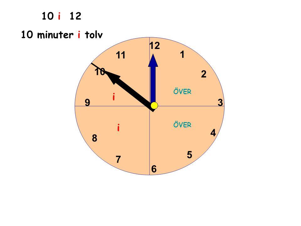 1 2 3 4 5 6 11 10 9 8 7 12 10 i 12 10 minuter i tolv ÖVER i i