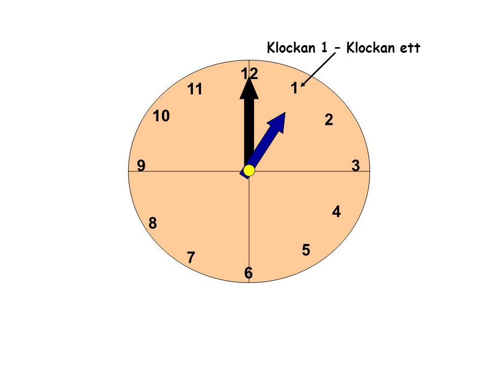 1 2 3 4 5 6 11 10 9 8 7 12 Klockan 1 – Klockan ett