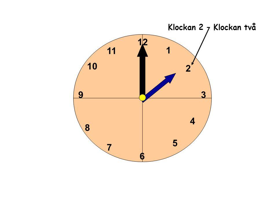 1 2 3 4 5 6 11 10 9 8 7 12 Klockan 3– Klockan tre