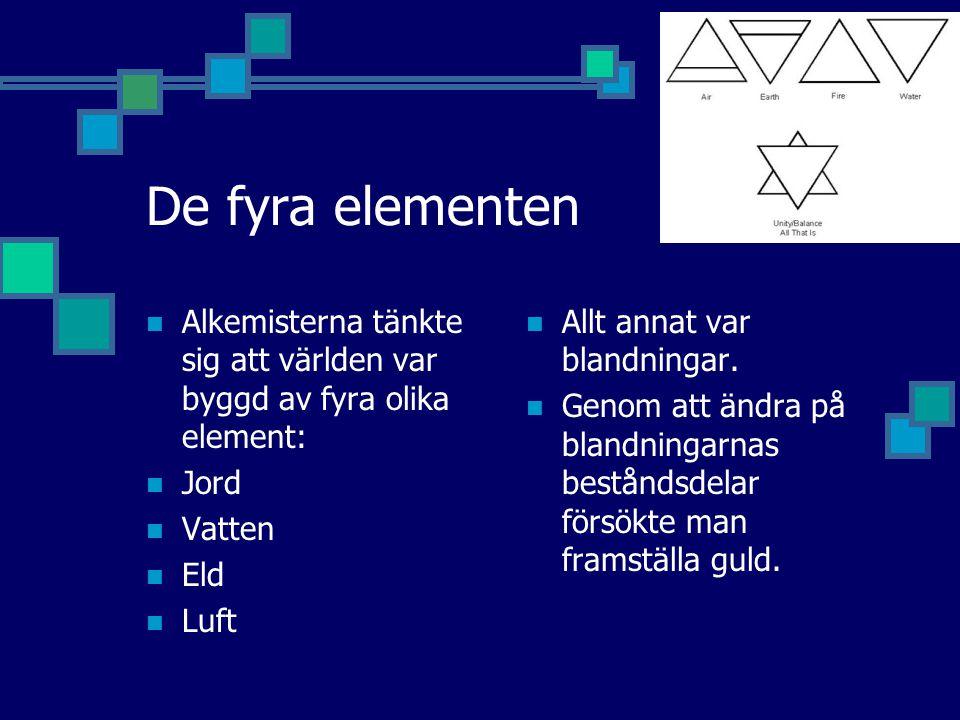 De fyra elementen Alkemisterna tänkte sig att världen var byggd av fyra olika element: Jord Vatten Eld Luft Allt annat var blandningar.