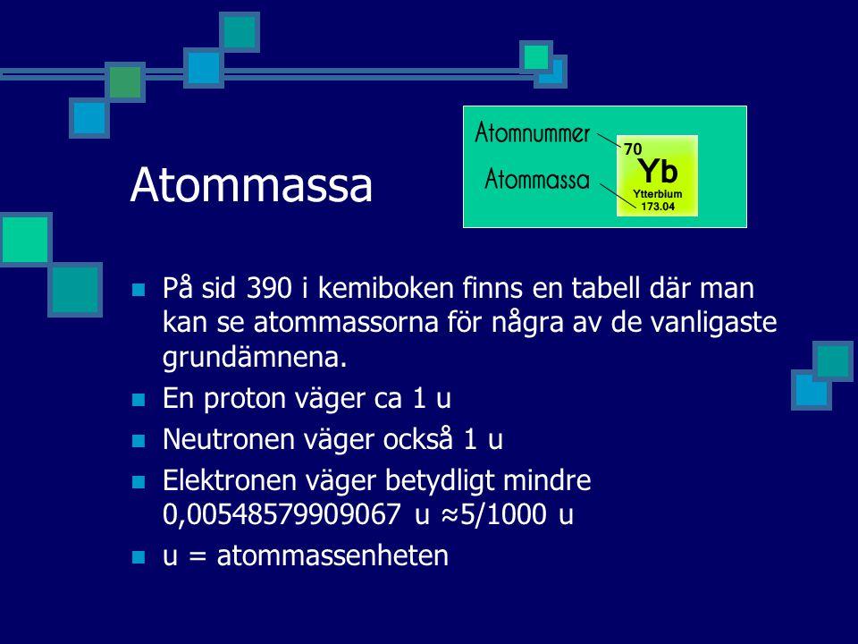 Atommassa På sid 390 i kemiboken finns en tabell där man kan se atommassorna för några av de vanligaste grundämnena. En proton väger ca 1 u Neutronen
