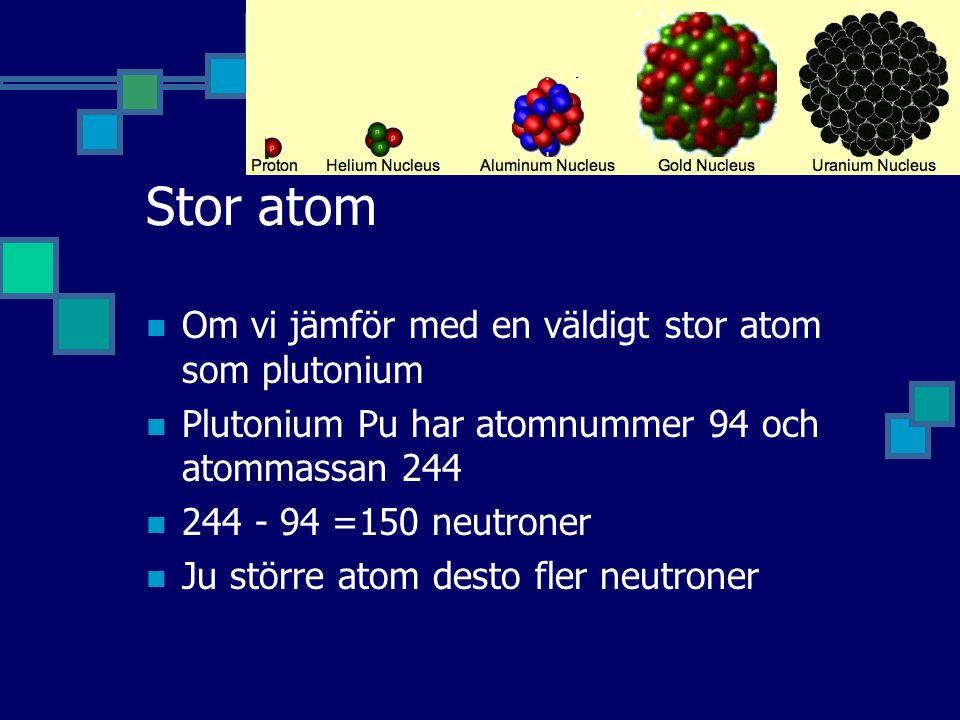 Stor atom Om vi jämför med en väldigt stor atom som plutonium Plutonium Pu har atomnummer 94 och atommassan 244 244 - 94 =150 neutroner Ju större atom