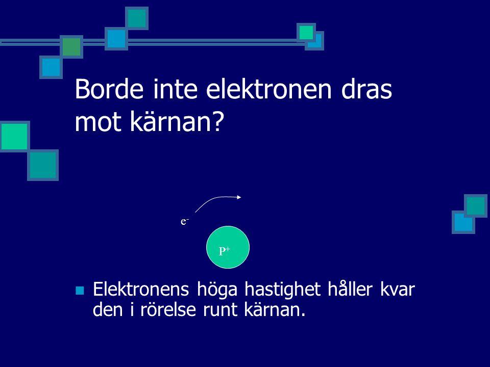 Borde inte elektronen dras mot kärnan? Elektronens höga hastighet håller kvar den i rörelse runt kärnan. P+P+ e-e-
