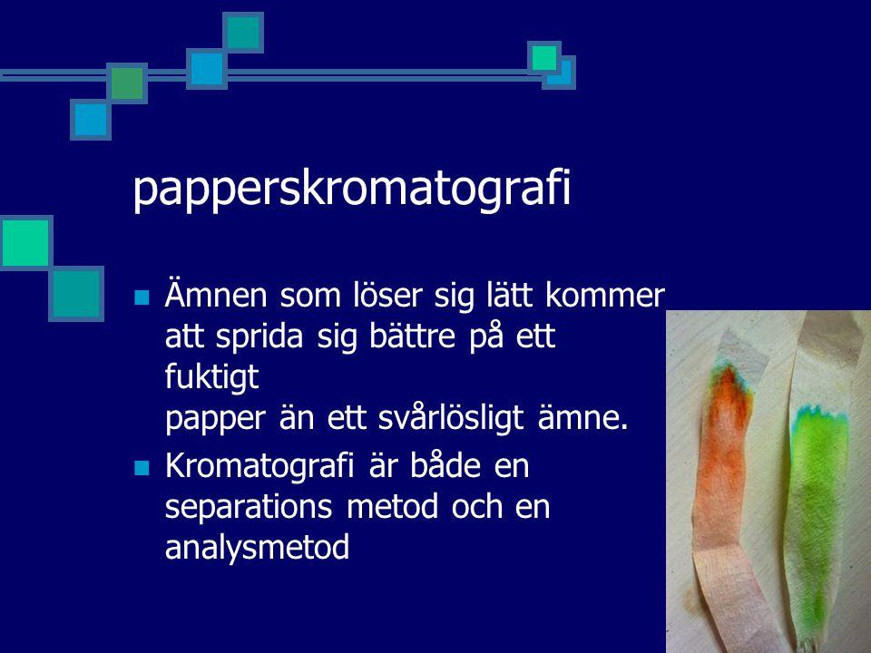 papperskromatografi Ämnen som löser sig lätt kommer att sprida sig bättre på ett fuktigt papper än ett svårlösligt ämne. Kromatografi är både en separ
