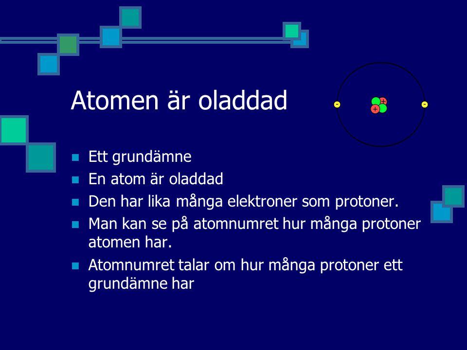 Atomen är oladdad Ett grundämne En atom är oladdad Den har lika många elektroner som protoner. Man kan se på atomnumret hur många protoner atomen har.