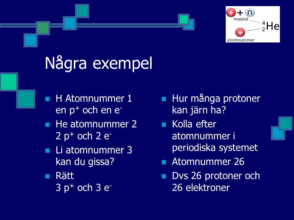 Några exempel H Atomnummer 1 en p + och en e - He atomnummer 2 2 p + och 2 e - Li atomnummer 3 kan du gissa? Rätt 3 p + och 3 e - Hur många protoner k