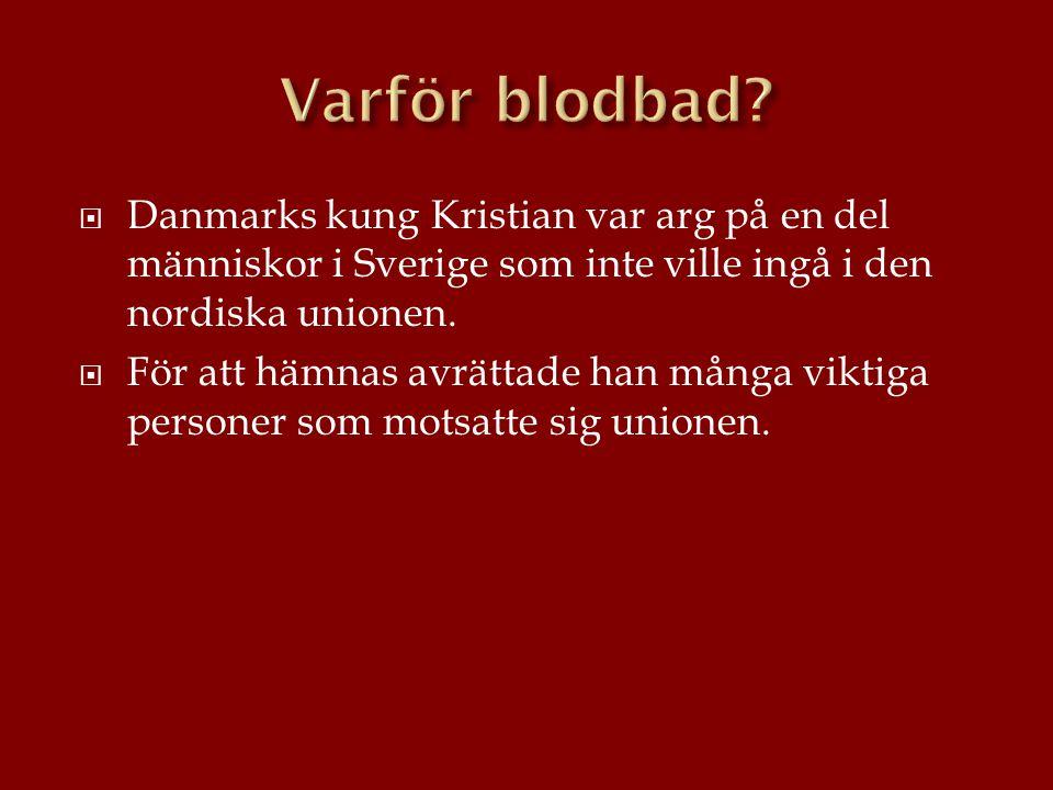  Danmarks kung Kristian var arg på en del människor i Sverige som inte ville ingå i den nordiska unionen.  För att hämnas avrättade han många viktig