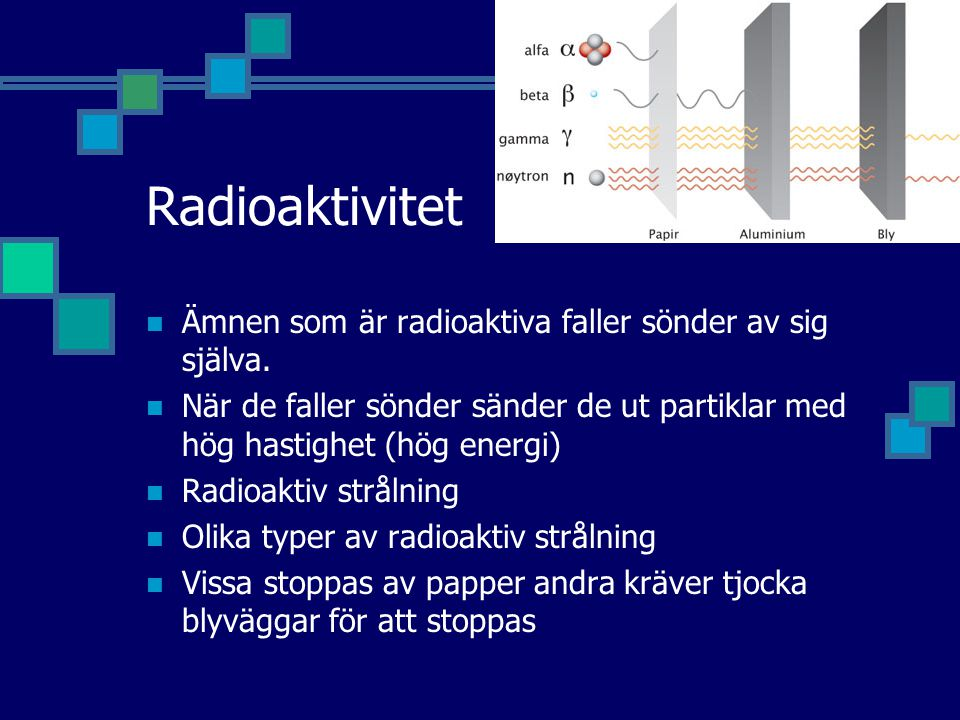 Radioaktivitet Ämnen som är radioaktiva faller sönder av sig själva.