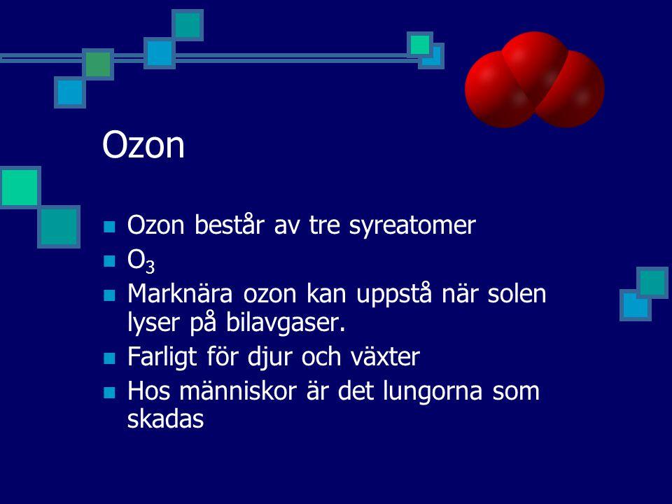 Ozon Ozon består av tre syreatomer O 3 Marknära ozon kan uppstå när solen lyser på bilavgaser.