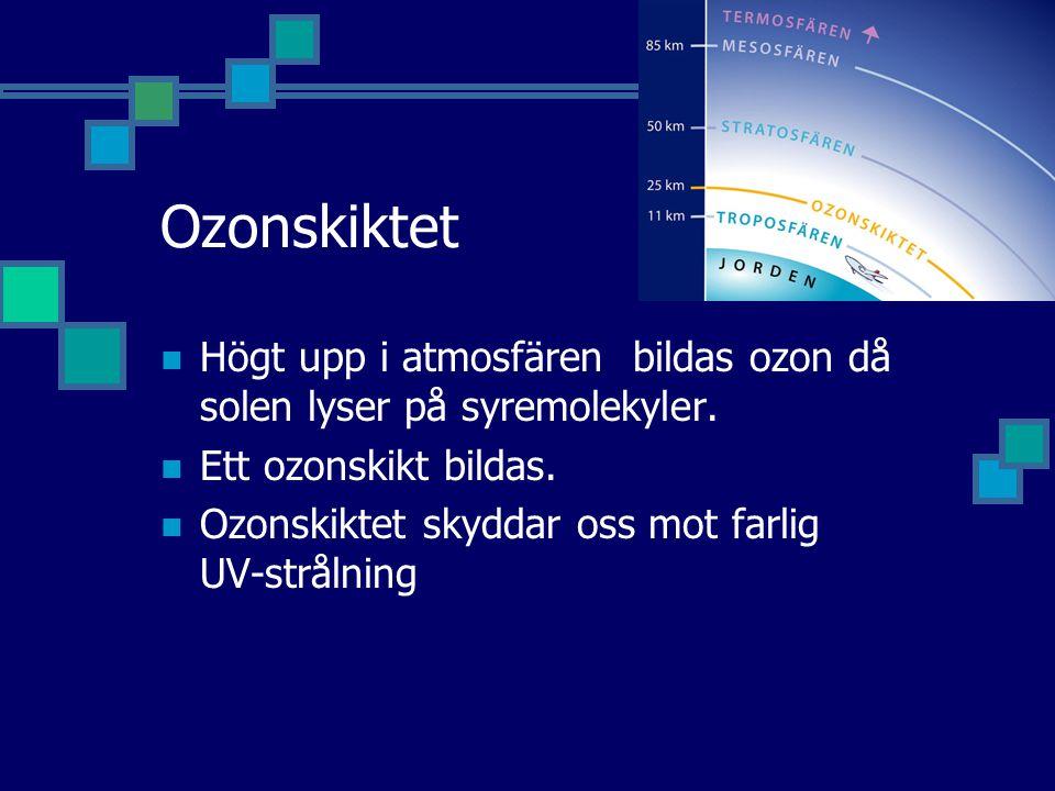Ozonskiktet Högt upp i atmosfären bildas ozon då solen lyser på syremolekyler.