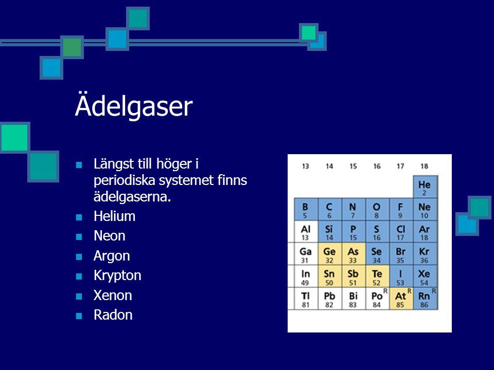 Ädelgaser Längst till höger i periodiska systemet finns ädelgaserna.