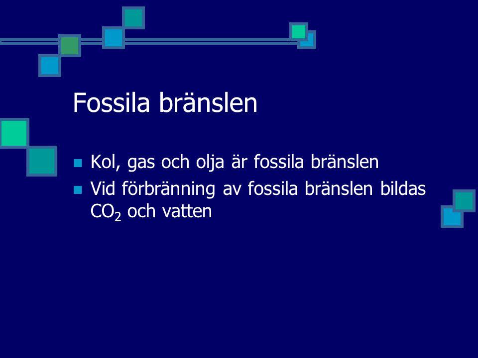 Fossila bränslen Kol, gas och olja är fossila bränslen Vid förbränning av fossila bränslen bildas CO 2 och vatten