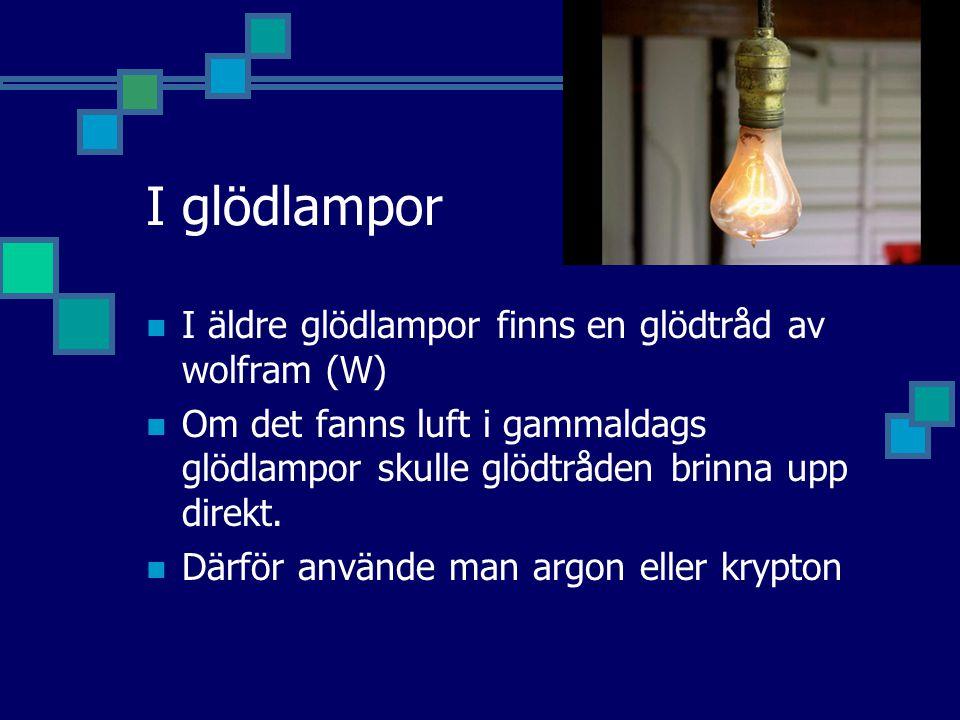 I glödlampor I äldre glödlampor finns en glödtråd av wolfram (W) Om det fanns luft i gammaldags glödlampor skulle glödtråden brinna upp direkt.