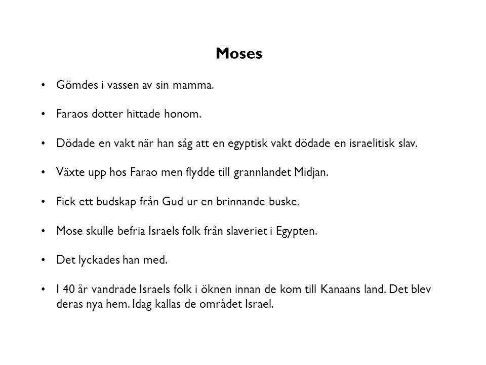 Moses Gömdes i vassen av sin mamma. Faraos dotter hittade honom. Dödade en vakt när han såg att en egyptisk vakt dödade en israelitisk slav. Växte upp