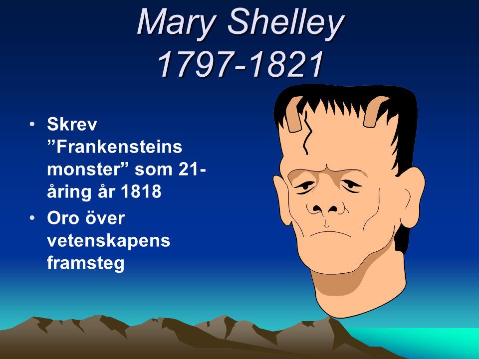 """Mary Shelley 1797-1821 Skrev """"Frankensteins monster"""" som 21- åring år 1818 Oro över vetenskapens framsteg"""