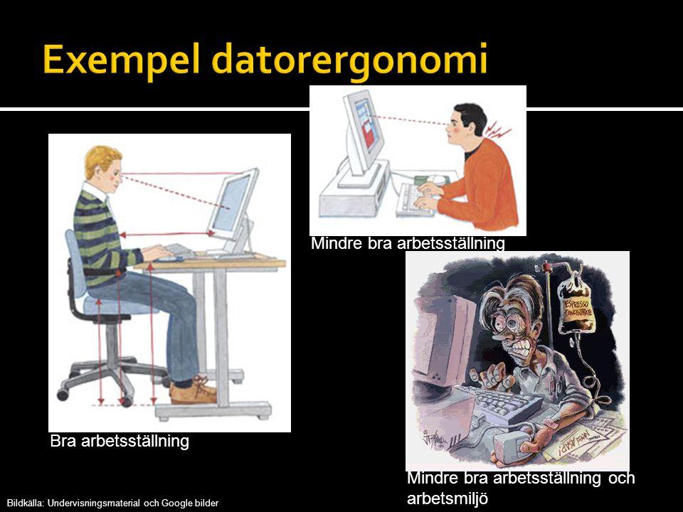 Bra arbetsställning Mindre bra arbetsställning Mindre bra arbetsställning och arbetsmiljö Bildkälla: Undervisningsmaterial och Google bilder