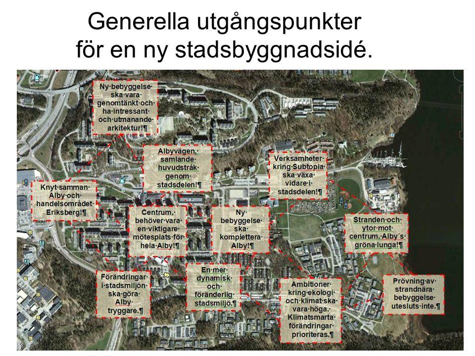 Generella utgångspunkter för en ny stadsbyggnadsidé.