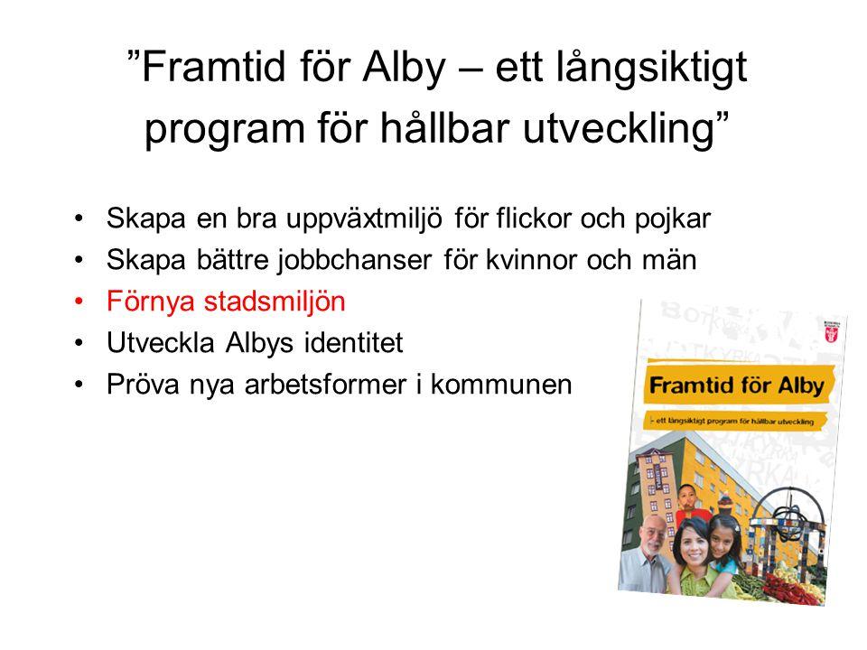 Framtid för Alby – ett långsiktigt program för hållbar utveckling Skapa en bra uppväxtmiljö för flickor och pojkar Skapa bättre jobbchanser för kvinnor och män Förnya stadsmiljön Utveckla Albys identitet Pröva nya arbetsformer i kommunen