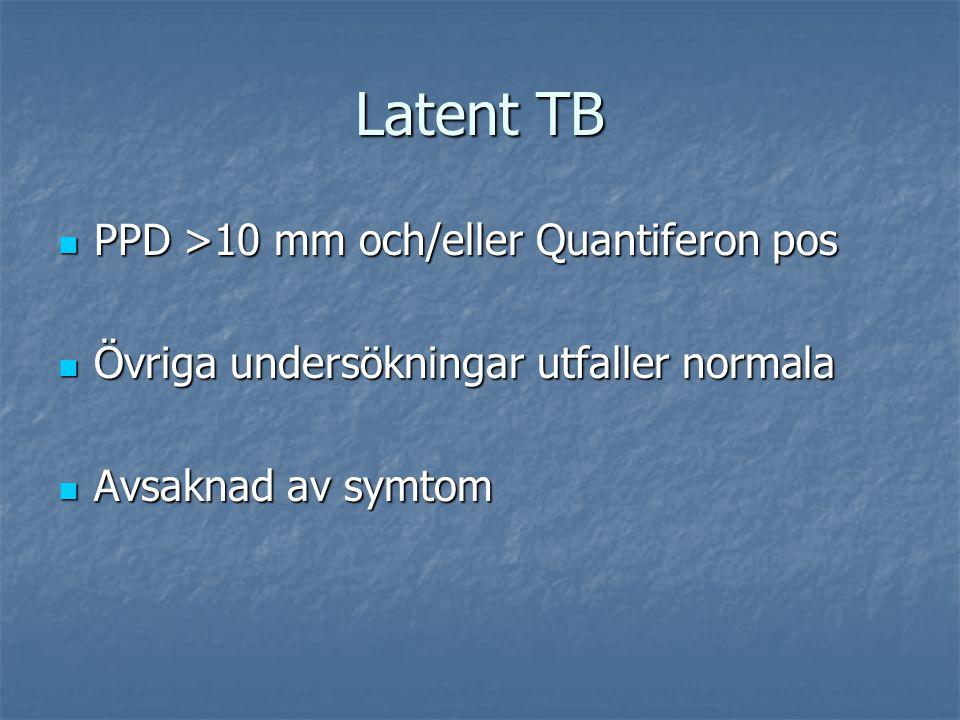 Latent TB PPD >10 mm och/eller Quantiferon pos PPD >10 mm och/eller Quantiferon pos Övriga undersökningar utfaller normala Övriga undersökningar utfal
