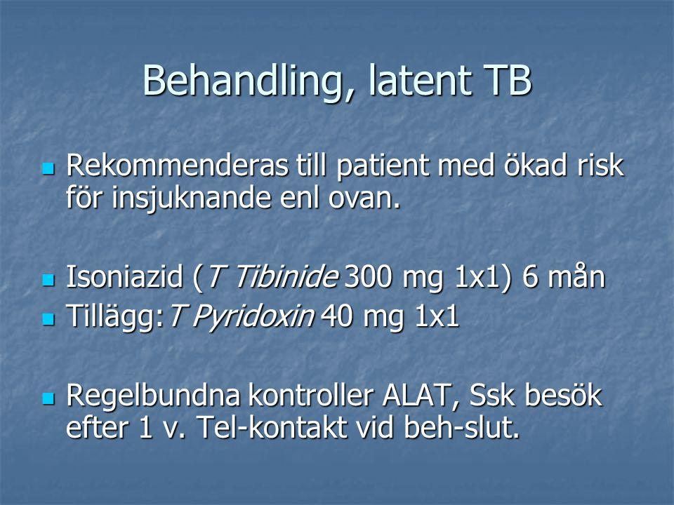 Behandling, latent TB Rekommenderas till patient med ökad risk för insjuknande enl ovan. Rekommenderas till patient med ökad risk för insjuknande enl