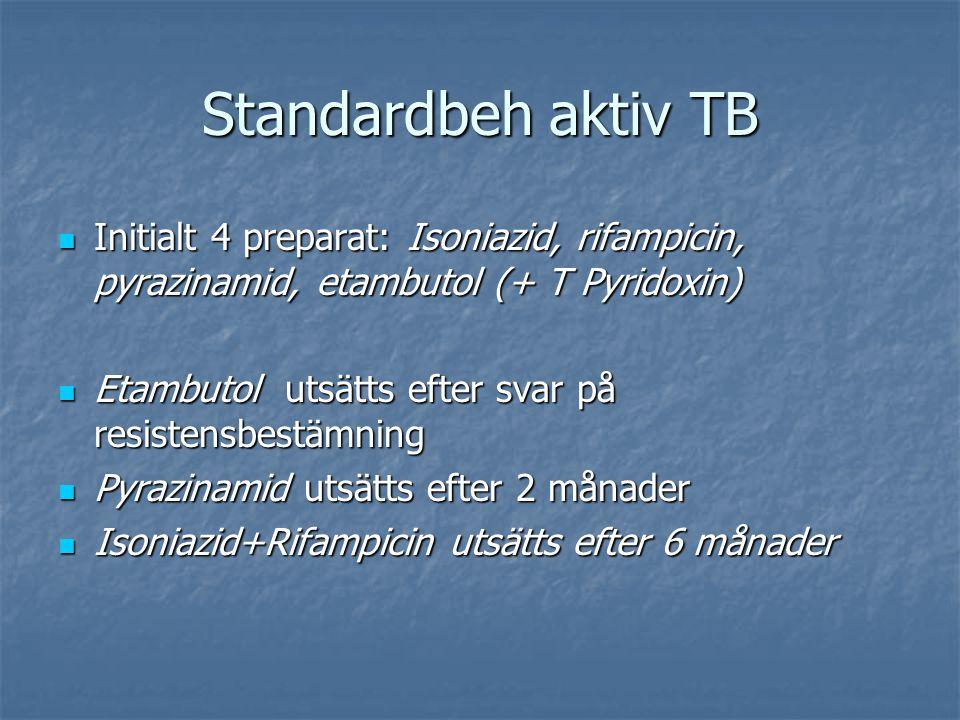 Standardbeh aktiv TB Initialt 4 preparat: Isoniazid, rifampicin, pyrazinamid, etambutol (+ T Pyridoxin) Initialt 4 preparat: Isoniazid, rifampicin, py