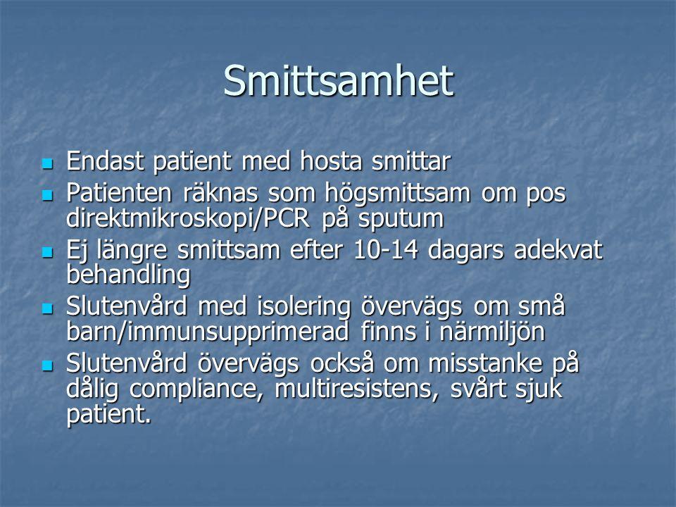 Smittsamhet Endast patient med hosta smittar Endast patient med hosta smittar Patienten räknas som högsmittsam om pos direktmikroskopi/PCR på sputum P