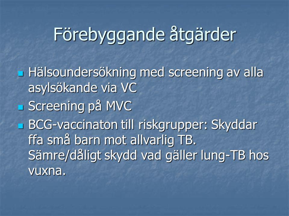 Förebyggande åtgärder Hälsoundersökning med screening av alla asylsökande via VC Hälsoundersökning med screening av alla asylsökande via VC Screening